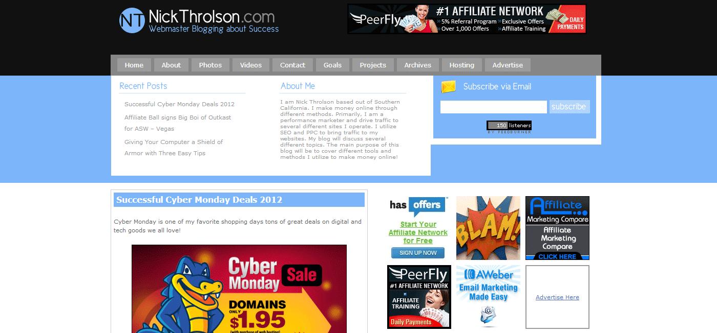 The Old NickThrolson.com WordPress Theme