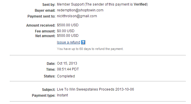 Live To Win Payment